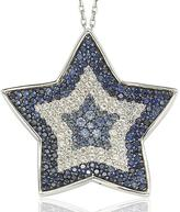 Suzy Levian 3 1/3 CT Sapphire and Champagne Diamond 18K Gold and Silver Star Necklace
