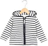 Petit Bateau Girls' Striped Zip-Up Sweater
