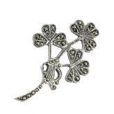 Failte Shamrock Brooch Sterling & Marcasite Made in Ireland