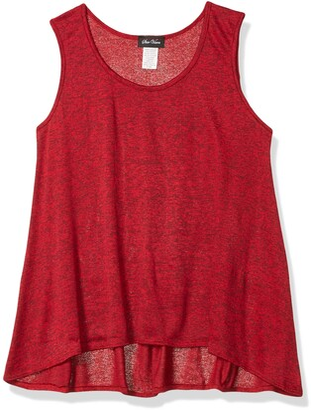 Star Vixen Women's Petite Slvless Hi-Low Flattering Swing Hem Sweater Knit Top
