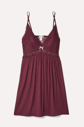 Eberjey Colette Mademoiselle Point D'esprit Stretch-tulle And Lace-paneled Stretch-modal Chemise - Burgundy