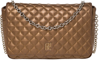 Carolina Herrera Bronze Quilted Leather Flap Chain Shoulder Bag
