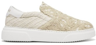 By Walid 19th-century Lace-panelled Slip-on Trainers - Ivory