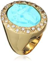 AMEDEO Hand Carved Simulated Turquoise Cameo Surrounded by Cubic Zirconia Featuring a Cherub Ring