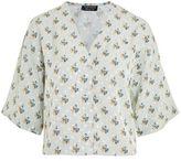 Topshop Tie sleeve jacquard blouse
