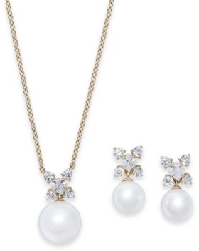 Eliot Danori Cubic Zirconia and Imitation Pearl Pendant Necklace & Drop Earrings Set, Created for Macy's