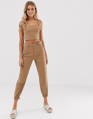 Miss Selfridge tapered pants with belt in camel