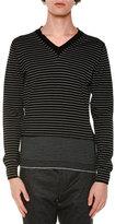 Lanvin Striped V-Neck Wool Sweater, Black