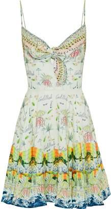 Camilla Sundowners Embellished Printed Linen Mini Dress