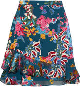 Saloni Cece Floral-print Fil Coupé Chiffon Mini Skirt - Blue