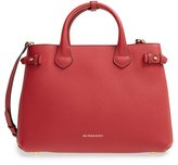 Burberry 'Medium Banner' Leather Tote - Red