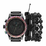 Rocawear Mens Chronograph Black Metal Link Watch and Jewelry Gift Set