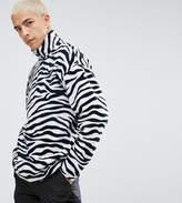 Reclaimed Vintage Inspired Jacket In White Fleece With Half Zip