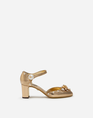 Dolce & Gabbana Mirrored Calfskin Ankle Strap Shoes With Jewel Embroidery