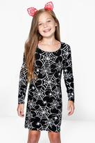 Boohoo Girls Long Sleeve Cobweb Print Dress