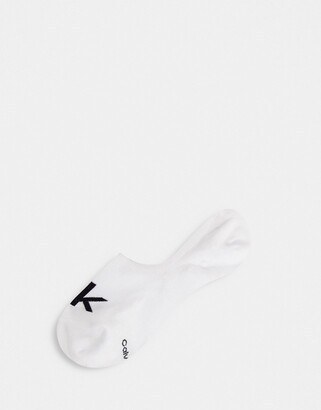 Calvin Klein Retro Logo Liner Socks in white