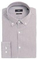 Hugo Boss Ismar Slim Fit, Cotton Twill Stripe Dress Shirt 15 Brown