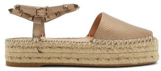 Valentino Rockstud-strap Leather Flatform Espadrille Sandals - Gold