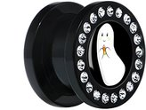 """Body Candy Black Acrylic Candy Corn Ghost Screw Fit Plug Pair 1/2"""""""