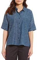 Eileen Fisher Point Collar Elbow Sleeve Shirt