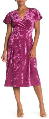 Free Press Velvet Flutter Sleeve Wrap Dress