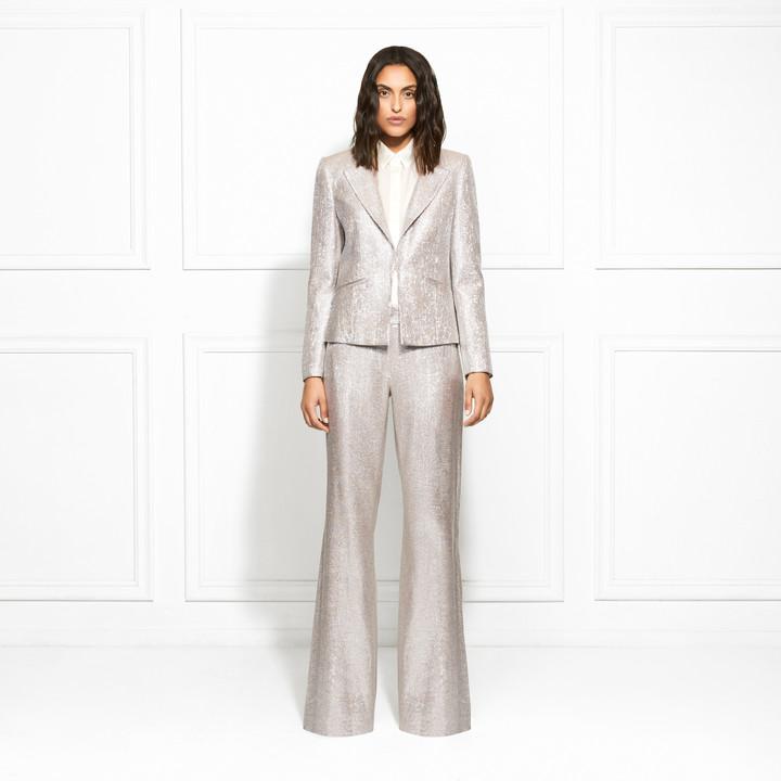 Thumbnail for your product : Rachel Zoe Eden Metallic Suiting Wide-Leg Pants