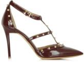 Daniel Tiff Burgundy Patent Studded Court Shoe