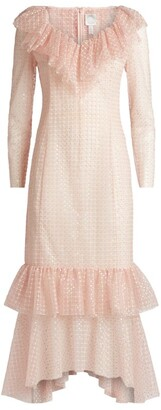 Huishan Zhang Erica Ruffled Long-Sleeved Midi Dress