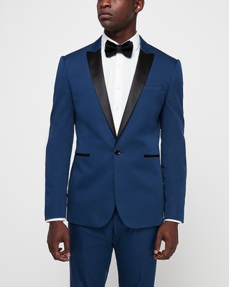 Express Extra Slim Marine Blue Cotton-Blend Satin Stretch Tuxedo Jacket