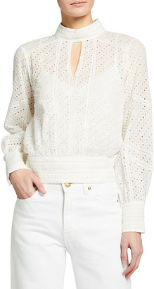 Frame Eyelet Long-Sleeve Party Top