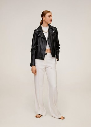MANGO Leather biker jacket black - XXS - Women