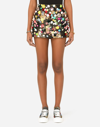 Dolce & Gabbana Jacquard Miniskirt With All-Over Bejeweled Buttons