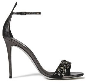 Rene Caovilla Rene' Caovilla Celebrita Crystal-embellished Satin-paneled Textured-leather Sandals