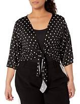 Star Vixen Women's Plus-Size 3/4 Sleeve Tiefront Shrug