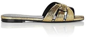 Saint Laurent Women's Nu Pieds Leather Slide Sandals - Gold
