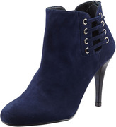 Stuart Weitzman Hotline Suede Lace-Up Ankle Boot, Blue