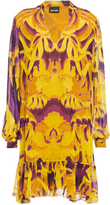 Just Cavalli Gathered Printed Georgette Dress