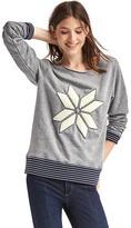 Gap Textured snowflake stripe-trim sweatshirt