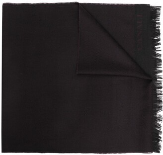Canali Embroidered Logo Wool Scarf
