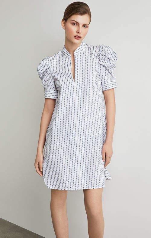 BCBGMAXAZRIA Draped Shoulder Ikat Shirt Dress