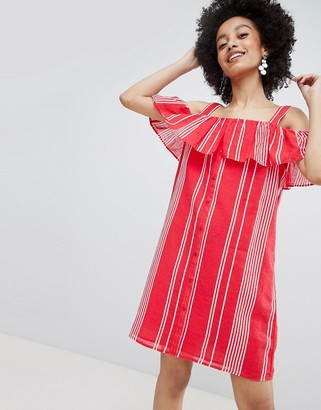 Only stripe cold shoulder button through mini dress in red