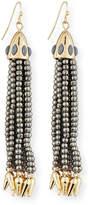 Lulu Frost Beaded Metallic Tassel Drop Earrings