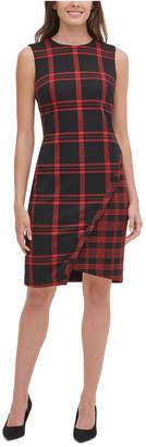 Tommy Hilfiger Petite Plaid Asymmetrical Sweater Dress