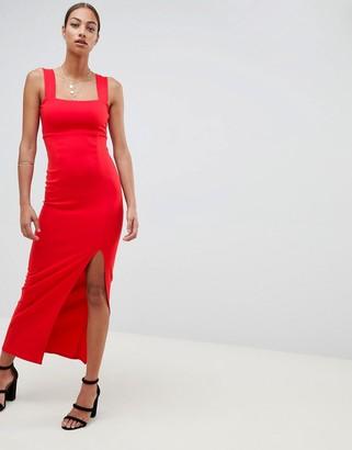 Asos Design DESIGN square neck maxi dress with thigh split-Red