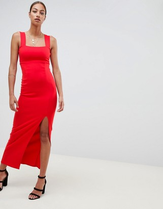 ASOS DESIGN square neck maxi dress with thigh split