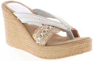 Sbicca Leather & Fabric Wedge Sandals - Adeen