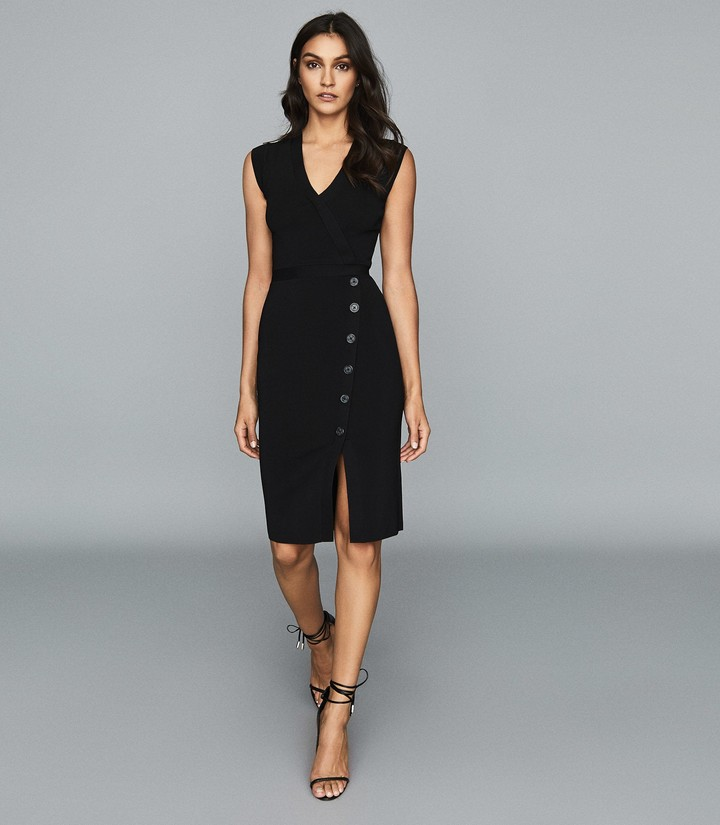 Reiss Elina - Knitted Bodycon Dress in Black