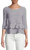 Casual Couture by Green Envelope Stripe Peplum Top