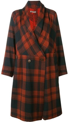 Issey Miyake Pre Owned Belted Plaid Coat