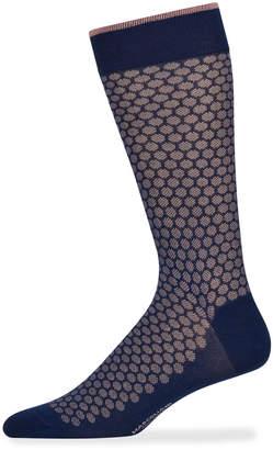 Marcoliani Milano Men's Jacquard Dot Cotton Socks